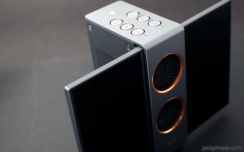 The TreVolo S portable speaker with the electrostatic panels open