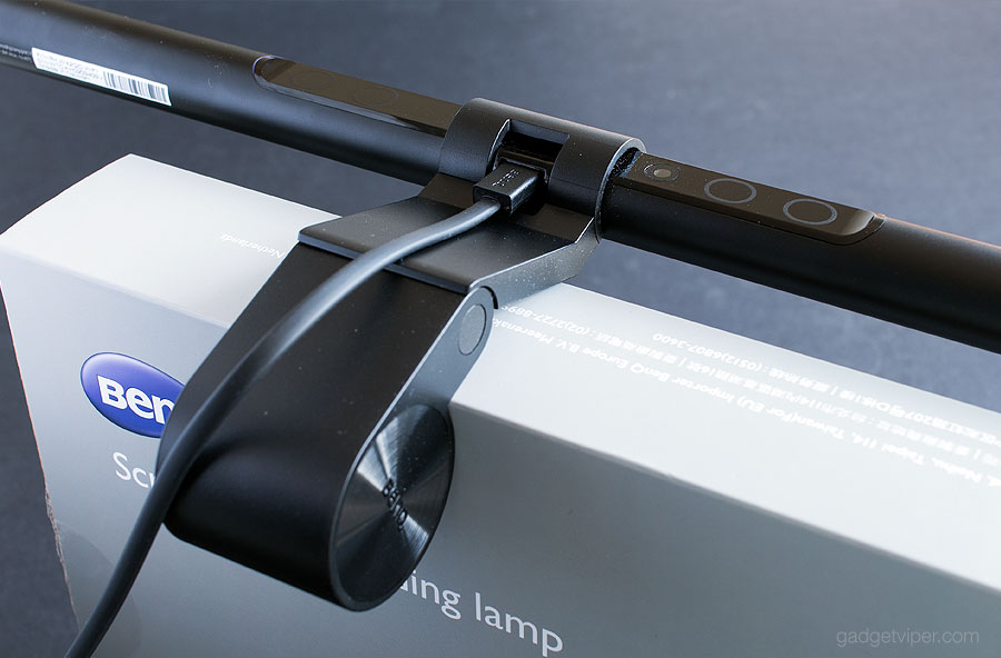 The BenQ ScreenBar e-Reading LED Lamp with its adjustable mounting arm
