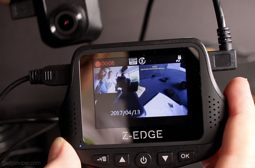 The PIP display on the Z-Edge S3 Dash cam