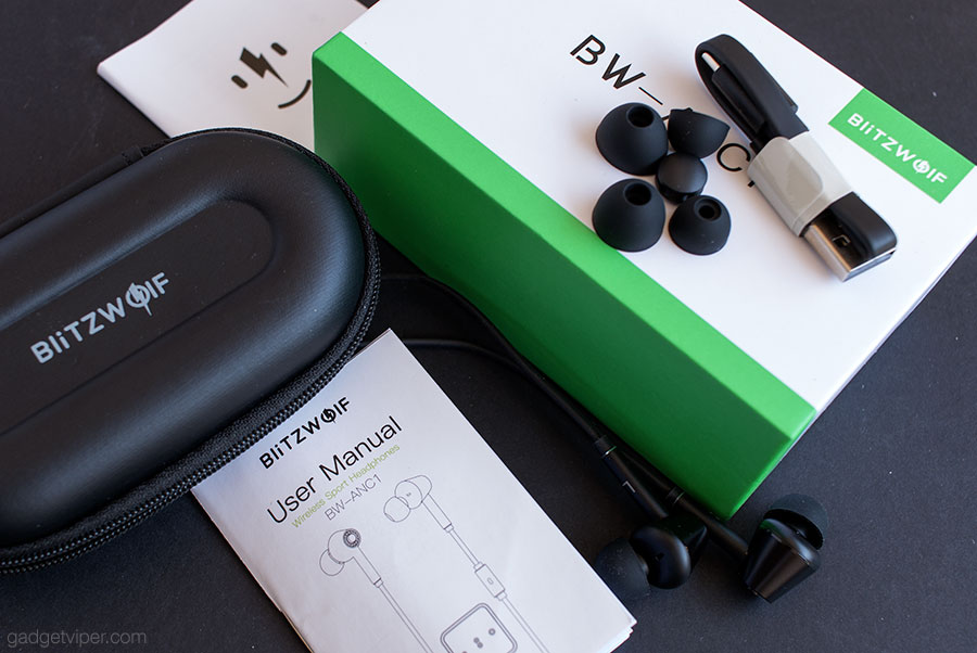 The Blitzwold BW-ANC1 bluetooth headphone accessories.