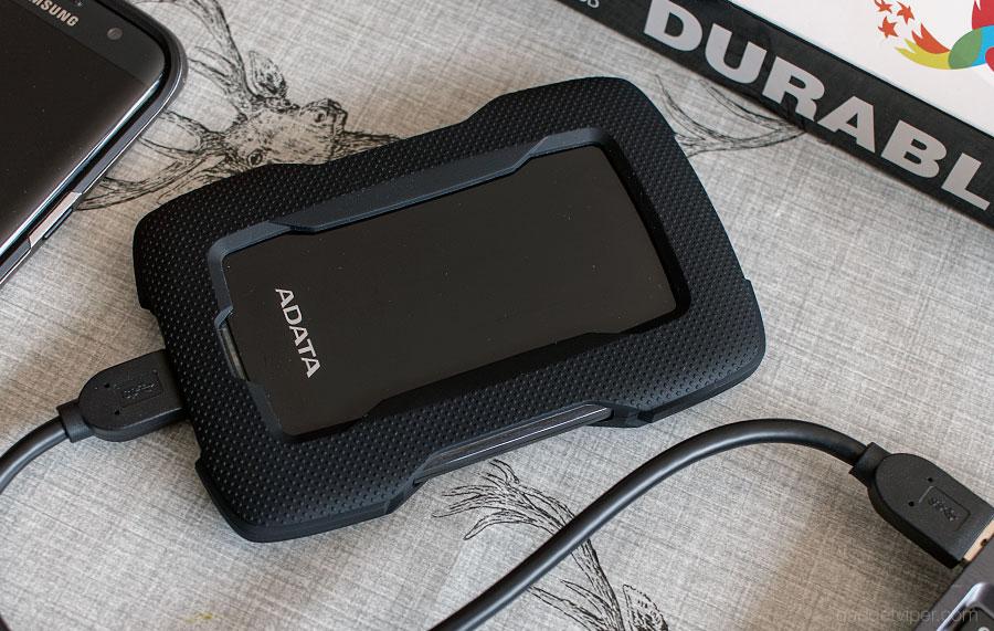 The black version of the ADATA HD330 external hard drive