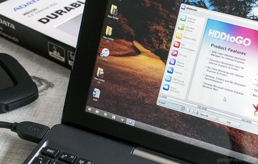 The optional HDDtoGO windows software for the ADATA HD330 External Hard Drive