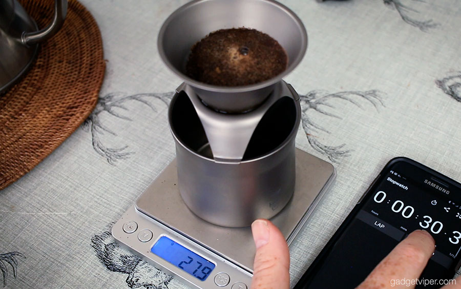 The blooming phase on the Titanium pour over coffee maker from Keith