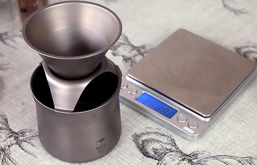 The Keith Ti3911 titanium coffee maker assembled