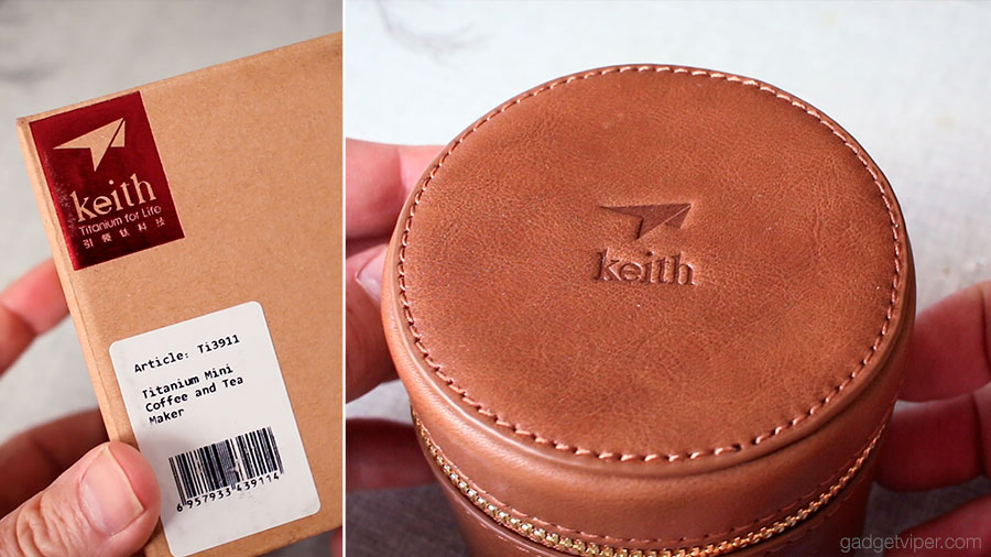 The stitched leather carry case that comes with the Keith Titanium drip coffee maker