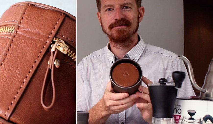 The leather carry case that comes with the Keith Titanium Pour Over coffee maker