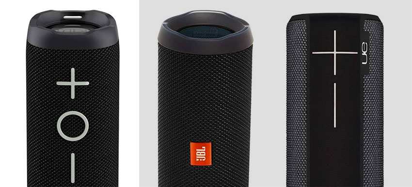 A design comparison between the JBL Flip4, the UE BOOM and the Tribit XBOOM