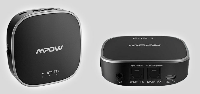 The Mpow Bluetooth audio receiver and transmitter featuring Bluetooth 5.0 and aptX Low Latency
