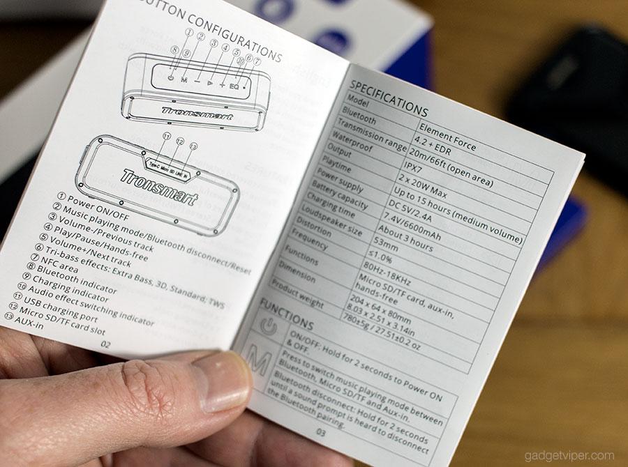 Tronsmart Element Force Bluetooth Speaker specifications