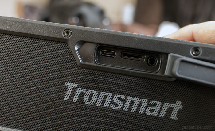 The ports and microSD slot on the Tronsmart Element Force Bluetooth speaker
