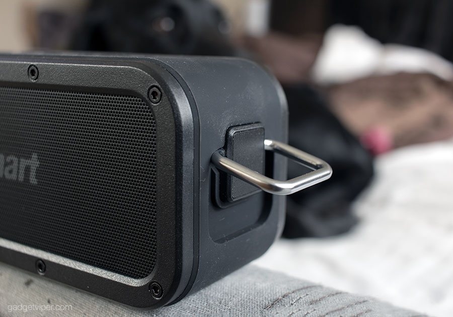 The Tronsmart Element Force Bluetooth speaker has a handy loop on the side for clipping it to a karabiner .