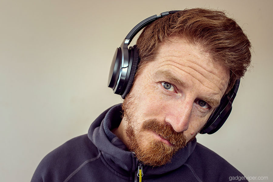 Wearing the Edifier W860NB active noise cancelling Bluetooth headphones