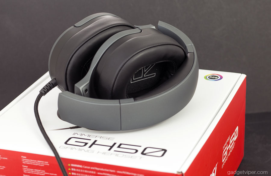 The MSI GH50 gaming headset folded for storage