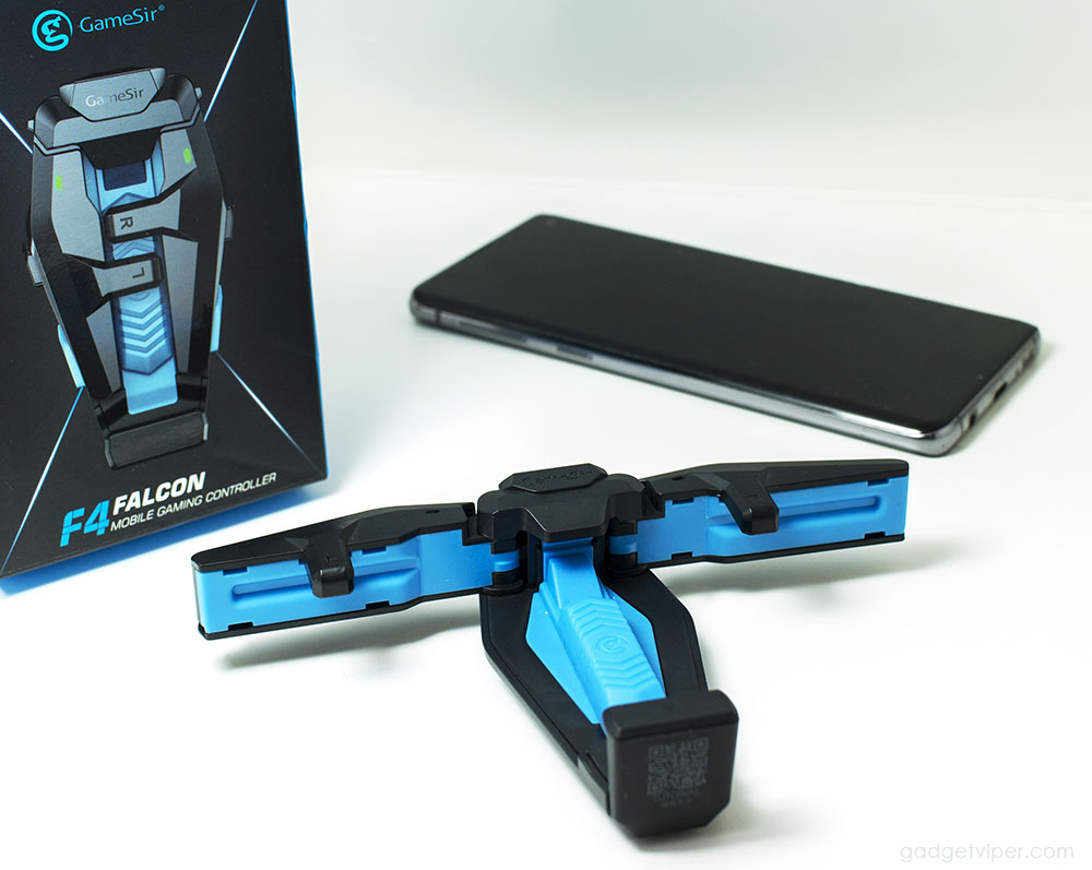 The F4 Falcon phone controller with the wings extended
